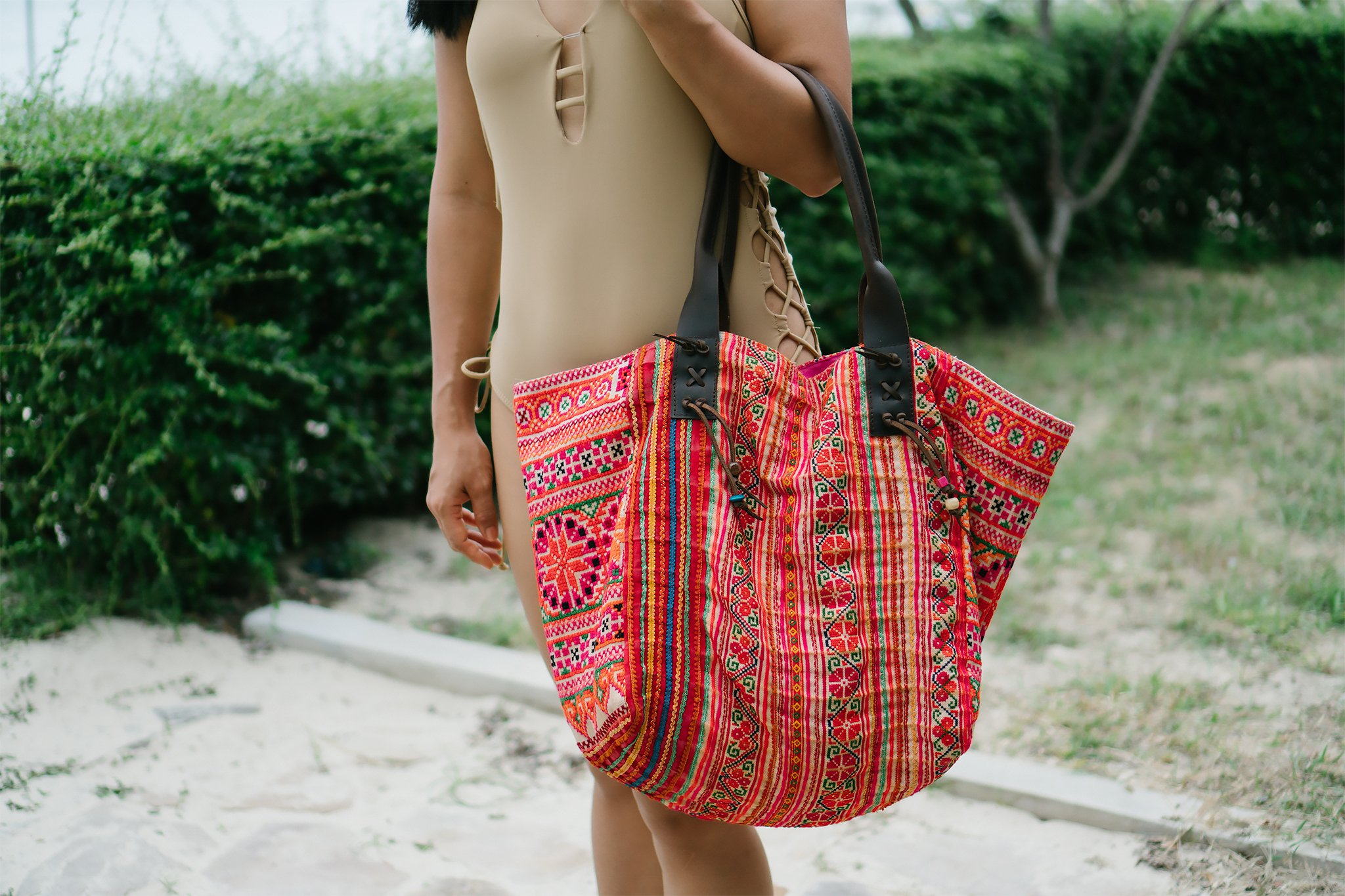 Changnoi Vintage Summer Tote Bag for Women with Hmong Hill Tribe Embroidered, Leather Strap - handmade-bags