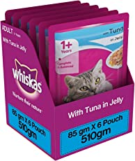 Whiskas Wet Cat Food, Tuna in Jelly for Adult Cats, 85 g (Pack of 6)