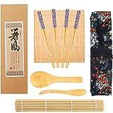 Kit Sushi,Opopark 9 Piezas Herramienta para Hacer Sushi de Bambú Kit para Hacer Sushi de Bambú, 2 Esterillas para Sushi,4 par