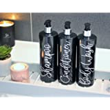 Refillable Bottles Pump 500ml Black Bathroom Shampoo Conditioner Mrs Hinch Bottles Dispenser