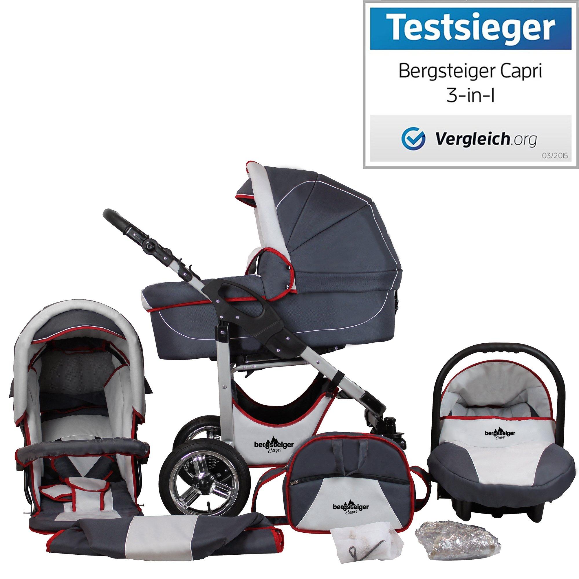 Bergsteiger Capri Grey & red Stripes Kinderwagen 3 in 1 Kombikinderwagen Megaset 10 teilig inkl. Babyschale, Babywanne, Sportwagen und Zubehör