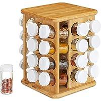 Relaxdays 10024209 Carrousel Bambou, 32 Pots Verre, Présentoir à épices, Organiseur Rotatif, Rangement Cuisine, Nature…