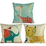 Luxbon Set med 3 st härliga djur kuddfodral 18 x 18 elefant katt giraff soffa örngott 45 x 45 cm bomull linne kuddfodral för