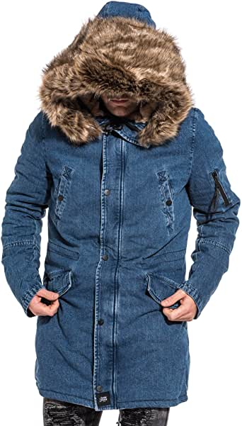 winter jacke jeans mit kapuze und rot pelz fly