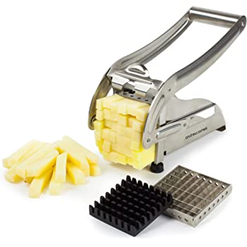 Andrew James Potato Chipper and Vegetable Chopper - Chip Maker and French Fries Cutter Machine with 2 Size Julienne Slicer Blades - Easy To Clean Stainless Steel Body with Non Slip Feet - Just Add Dip