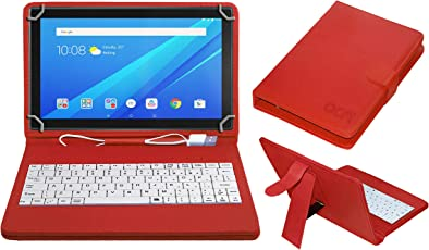 ACM USB Keyboard Case for Lenovo Tab4 10 Tablet Cover Stand with Free Micro USB OTG - Red