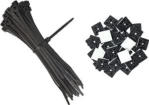Intervisio Set Kabelbinder 300mm X 3 6mm Schwarz 100 Stück Und Klebesockel Für Kabelbinder 19mm X 19 Mm Schwarz 100 Stück Baumarkt
