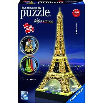 Ravensburger 12579 Tour Eiffel, Night Special Edition, Puzzle 3D Building con LED, 216 Pezzi