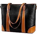 S-ZONE Damen Schultertasche 15,6 Inch Laptoptasche Große Leder Shopper Arbeitstasche Umhängetasche Handtasche mit Gepolsterte