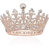 SWEETV Luxus Kristall Braut Kronen Strass Königin Tiara Diadem Kopfschmuck für Hochzeit Feier Party, Roségold