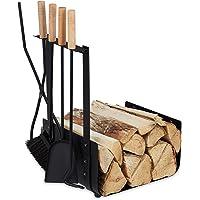 Relaxdays 10033828 Panier bûches de cheminée, 4 Instruments Couvert de Four, Pelle, balais, Pinces et tisonnier, Noir, 1…