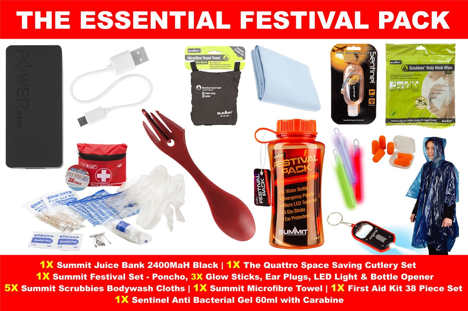 TentSpares THE ESSENTIAL MUSIC FESTIVAL OUTDOOR CAMPING DOFE SURVIVAL KIT FUN GIFT SET WITH JUICE BANK 1