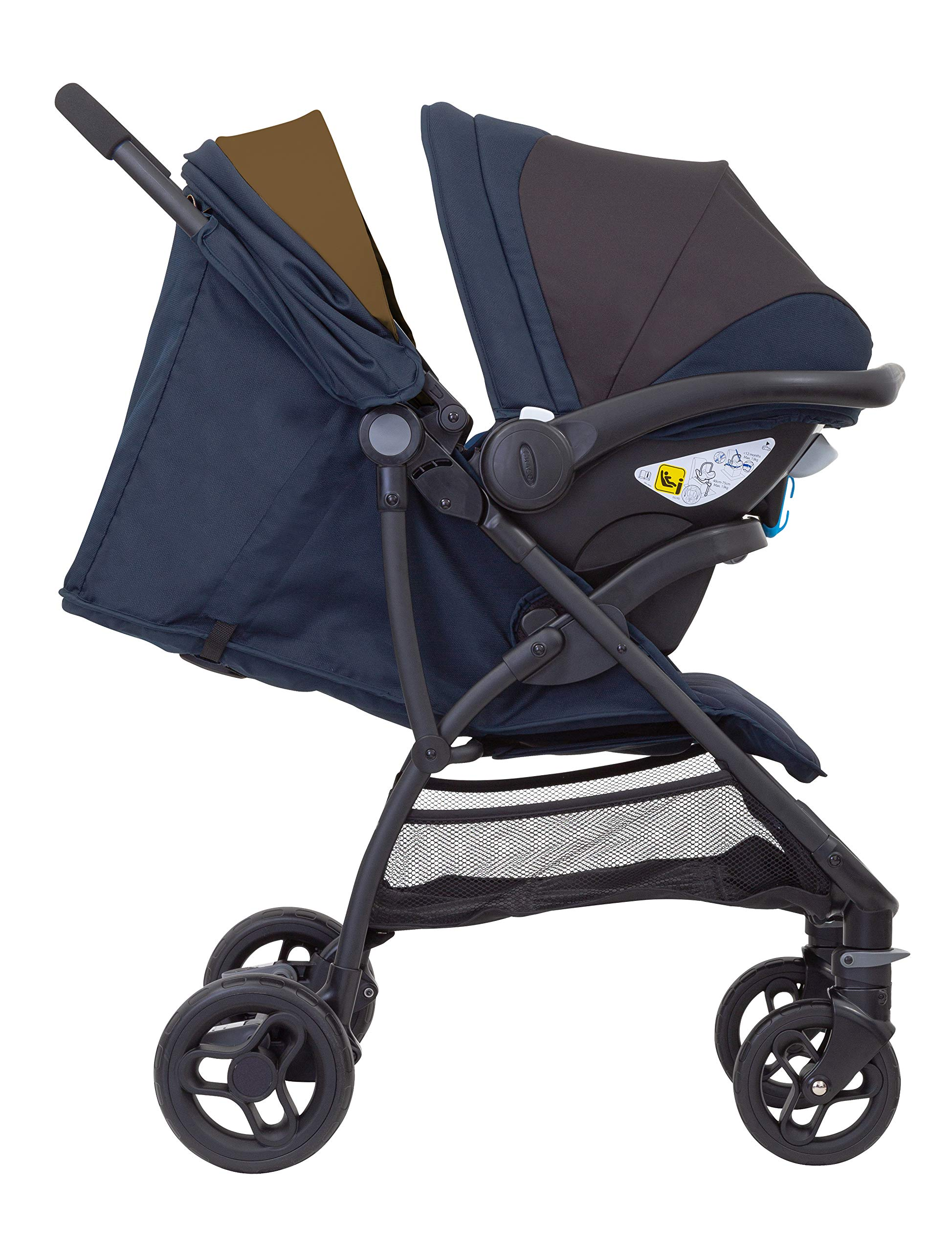 Graco Breaze Lite i-Size Travel System, Eclipse Graco From birth to 3 years approx. (0-15kg) Travel system package with snug essentials isize infant car seat included Lightweight stroller at only 6.5kg 4