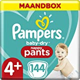 Pampers Maat 4+ Luierbroekjes (6-10 kg), Baby-Dry, 144 Stuks, Tot 12 uur Bescherming rondom tegen Lekken