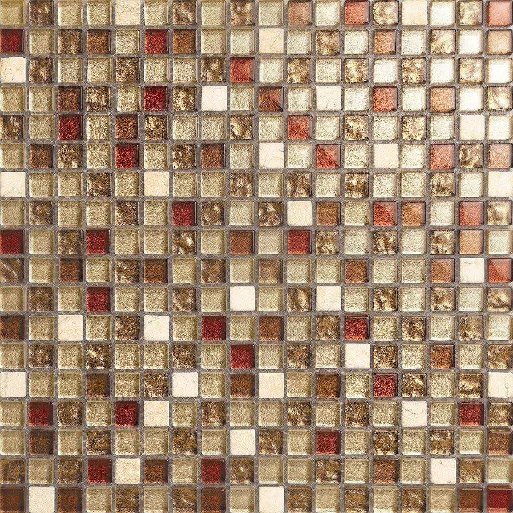 Cream White, Red, Gold, Silver Stone & Glass Mix Mosaic Wall Tiles ...