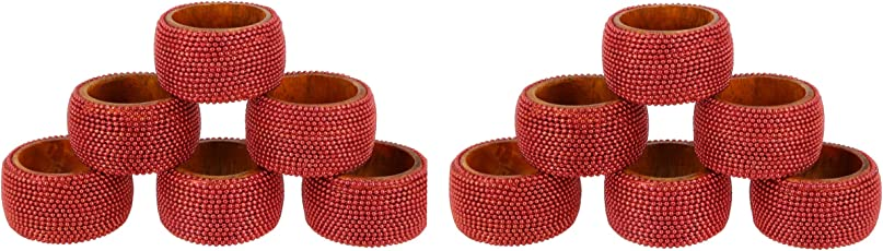 Handmade Indian Red Aluminum Ball Chain Wooden Napkin Rings - Set of 4 Rings