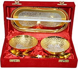 German Silver & Gold Bowl with Spoon with Tray (Set of 5 Pics, Gold) with Velvet Box