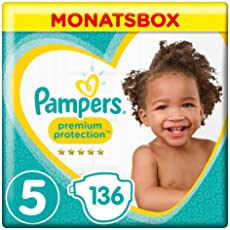 Pampers Premium Protection Monatsbox Vorteils-Set: Premium Protection Windeln Gr. 5 (11-16 kg), 1 x 136 Stück und Premium Protection Pants Gr. 5 (12-17 kg), 1 x 132 Stück