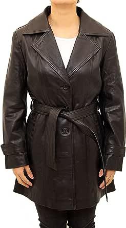 A to Z Leather Trench Classico 3/4 in Vera Pelle da Donna con Cintura Rimovibile