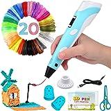 Bolígrafo 3D inteligente con pantalla LED, bolígrafo de impresión 3D con carga USB, recargas de filamento PLA de 20 colores,