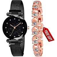 Acnos Branded Black Magnet Watch with Fre Gift Rosegold Braclet and Gift Box for Women or Girls and Watch for Girl or…
