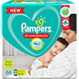 Pampers All round Protection Pants, New Born, Extra Small size baby diapers (NB,XS) 66 Count, Anti Rash diapers, Lotion with