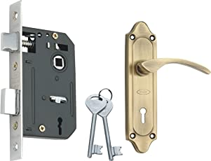 Spider Steel Mortice Key Lock Complete Set with Antique Brass Finish (S509MAB + RML4)