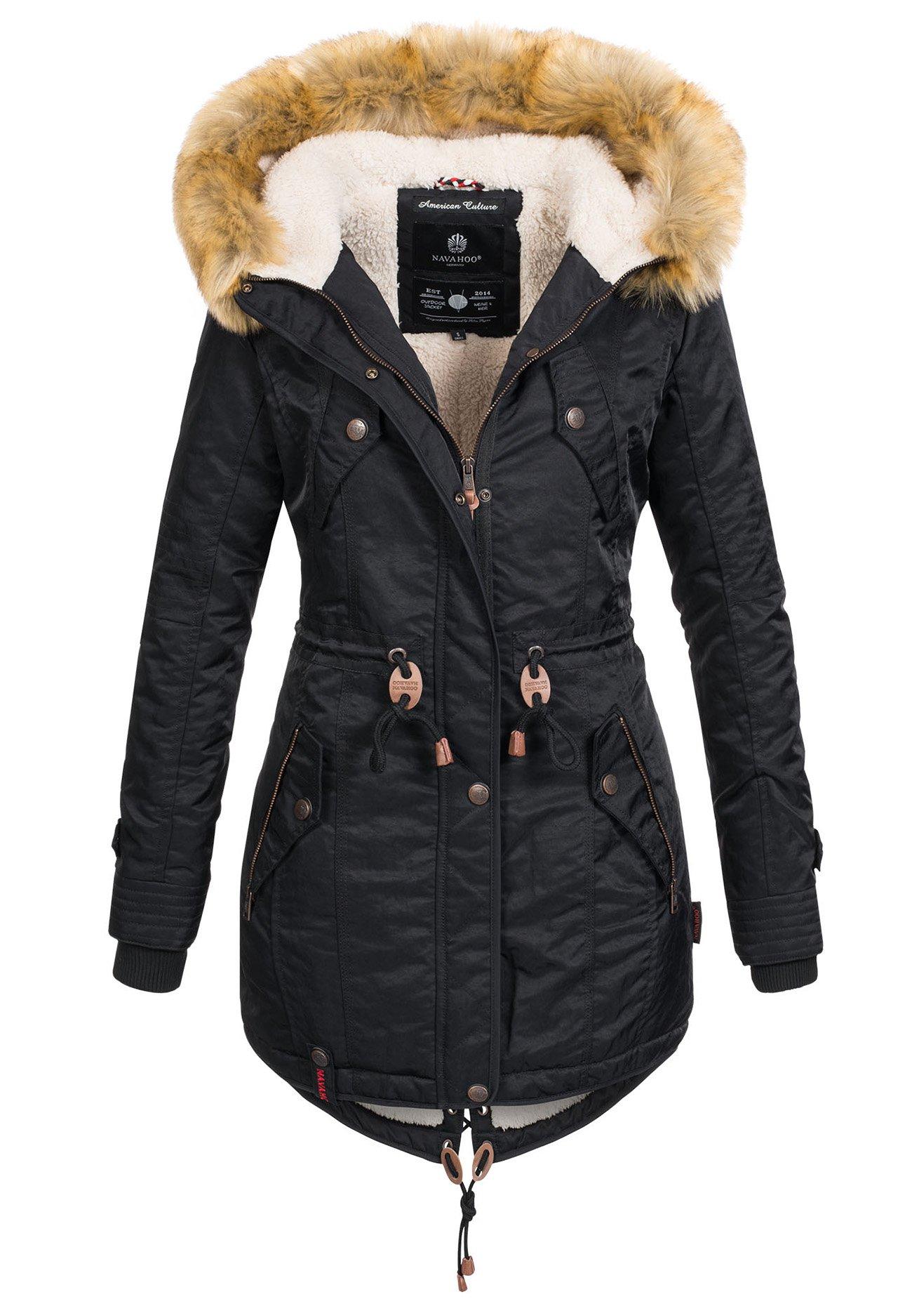 Damen Winter Jacke Warm Parka Winter Lang Mantel mit Kapuze S-XL 7758