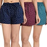 The Cotton Company 100% Cotton Women's Shorts (Pack of 3) - Nautical Anchor Print