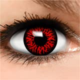 FUNZERA® Lentillas de Colores Red Demon + recipiente para lentes de contacto, sin dioptrías pack de 2 unidades - cómodas y pe