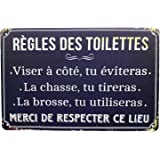 Hioni Règles des Toilettes, Pancarte en Métal Panneau Poster Plaque Métallique Slogan Art Décor Vintage Pr Maison Café Pub