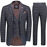Xposed Mens 3 Piece Blue Orange Window Check on Charcoal Grey Retro Smart Tailored Fit Vintage Suit