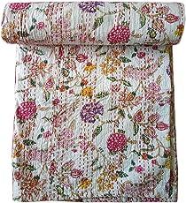 Kirti Textiles and Handicraft Handmade Cotton Kantha Bedspread Throw Kantha Quilt 60x90 Inch Bed Cover