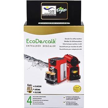 EcoDescalk Biologico in Polvere, 4 Sacchetti. Decalcificante 100% Naturale. Detergente per Macchine da caffè. Tutte Le Marche: Bosch, Nespresso, DeLonghi, Tassimo. 9 Decalcificazioni. Prodotto CE.