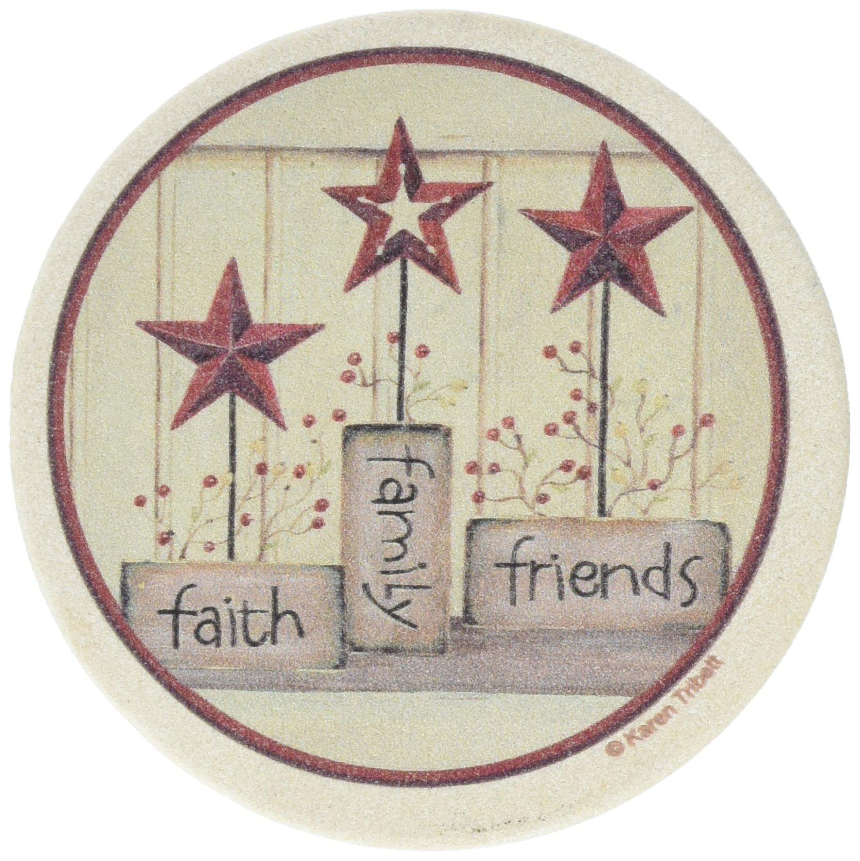 Thirstystone TSKB2�Natural Sandstone Coaster set Faith Family Friends
