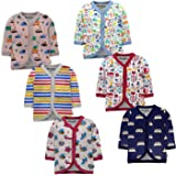 NammaBaby Cotton Front Open Full Sleeves Jhabla Vest- Tshirt -Multicolour - Set of 6