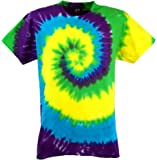 Guru-Shop Regenbogen Batik T-Shirt, Herren Kurzarm Tie Dye Shirt, Baumwolle, Rundhals Ausschnitt Alternative Bekleidung