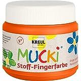 Kreul 28107 - Mucki leuchtkräftige Stoff - Fingerfarbe, 150 ml in orange, auf Wasserbasis, parabenfrei, glutenfrei, laktosefr