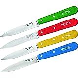 OPINEL - Coffret de 4 Couteaux N°112 Couleurs Classiques - Lame Inox 10 cm & Manche Bois de Charme - Bleu, Jaune, Rouge & Ver