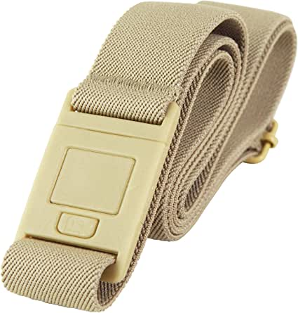 Beltaway² SQUARE BUCKLE Adjustable Stretch Belt With No Show Buckle Beige