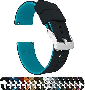 Barton Elite Bracelet de montre en silicone – Libération rapide – Couleur au choix – 18 mm, 19 mm, 20 mm, 21 mm, 22 mm, 23 mm et 24 mm – Boucle noire