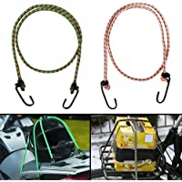 Autofy Multipurpose Ultra Strong & Flexible Bungee Rope/Luggage Strap/Bungee Cord with 10 MM Diameter and Metal Hooks (Multicolored, Set of 2)