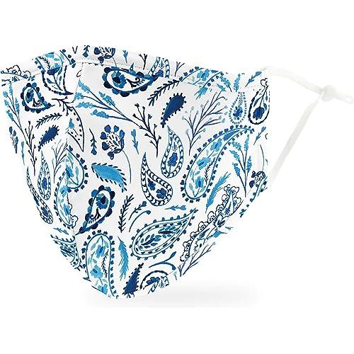 Weddingstar Maschera facciale in tessuto lavabile per adulti Copertura protettiva in tessuto riutilizzabile e regolabile con tasca per filtro antipolvere - Blue Paisley