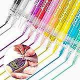 Dapzon Marqueur Peinture Acylique, 12 Couleurs Feutre Acrylique de Graffiti Créatif, Stylos à Peinture Permanent Stylos Acryl