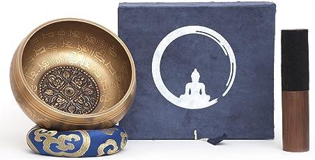 Campana tibetana fatto a mano in Nepal – 600g – 14cm – 5 Metalli – Batacchio di palissandro con pelle – Set box in Lokta scatola di carta fatta a mano – Incisione in Nepālī – per la meditazione buddista e terapia del suono - Mudra simbolismo