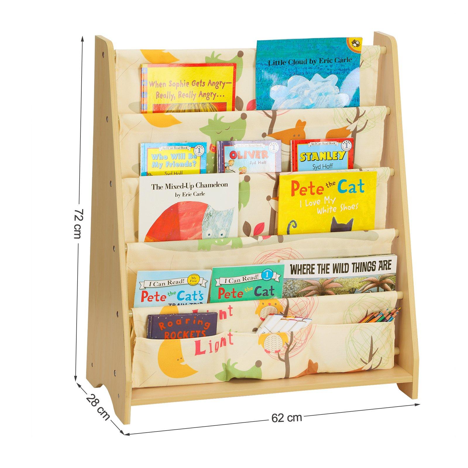 Scaffali E Librerie Per Bambini.Songmics Libreria Di Tessuto Per Bambini Libreria A 4 Livelli Per Cancelleria Libri E Quaderni Scaffale Per Cameretta Asilo Tema Animali E