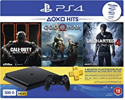 Sony PlayStation 4 500GB Console (Black) with 3 Month PSN Subscription and 3 Games (Call Of Duty: Black Ops 3, God Of...