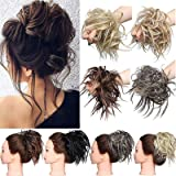 Hair Extensions XXL Haarteil Haargummi Hochsteckfrisuren Brautfrisuren VOLUMINÖS gewellter unordentlicher Dutt Scrunchie Hell
