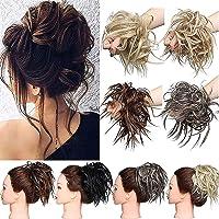 Extension clip capelli veri Disordinato Pelo arruffato Pezzo di capelli Scrunchies Estensioni di panino ondulato…