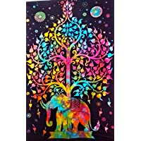 Rubia Textile Buddha Celestial Tapestry Yoga Mat Bed Sheet (Multicolour)